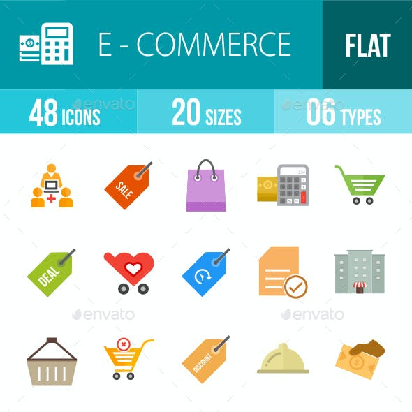 Ecommerce Flat Multicolor Icons