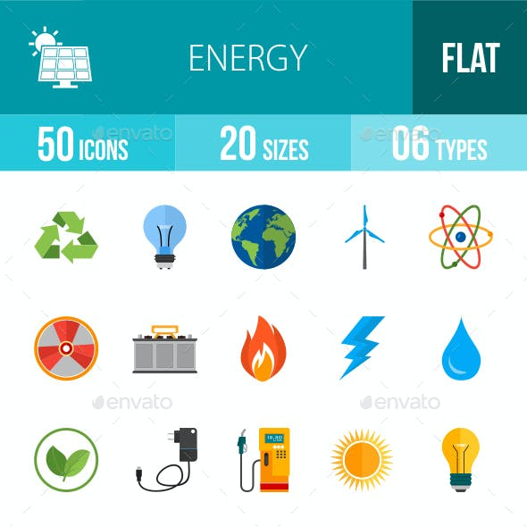 Energy Flat Multicolor Icons