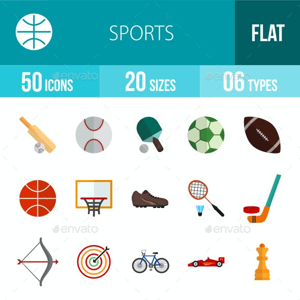 Sports Flat Multicolor Icons