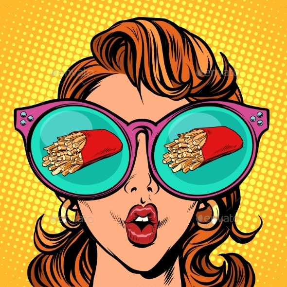 French Fries Serving. Woman Reflection in Glasses - Food Objects