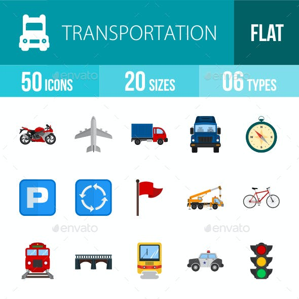Transport Flat Multicolor Icons