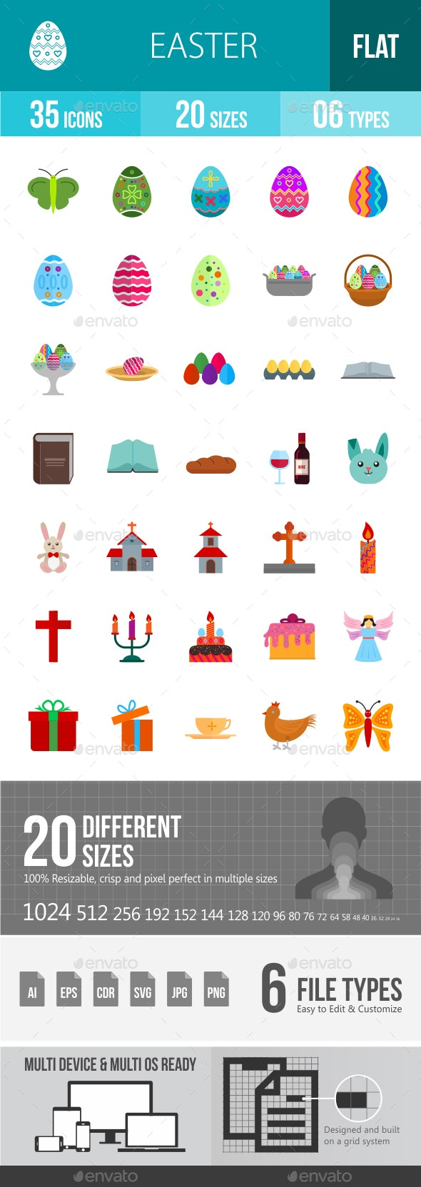 Easter Flat Multicolor Icons - Icons