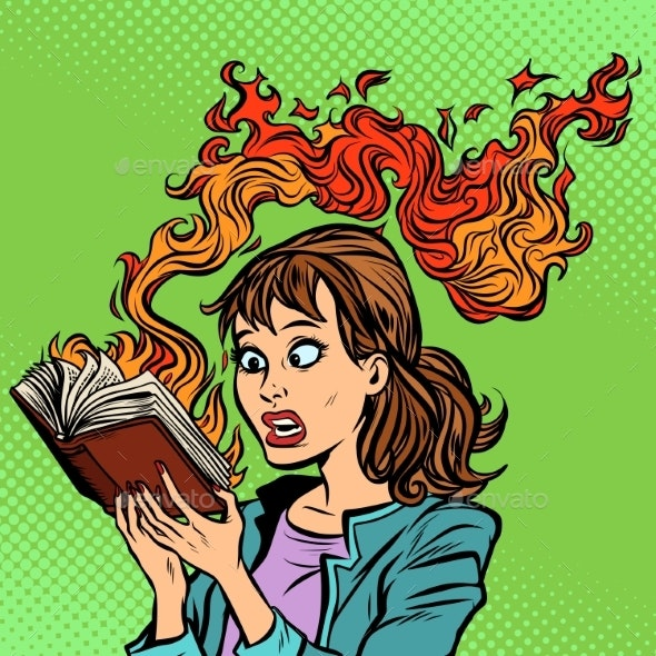 Woman Reading a Burning Book Censorship Concept - Miscellaneous Conceptual
