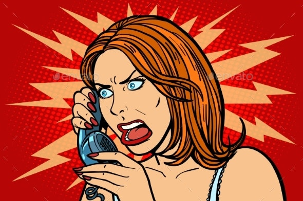 Angry Woman Talking on the Phone Emotions - People Characters