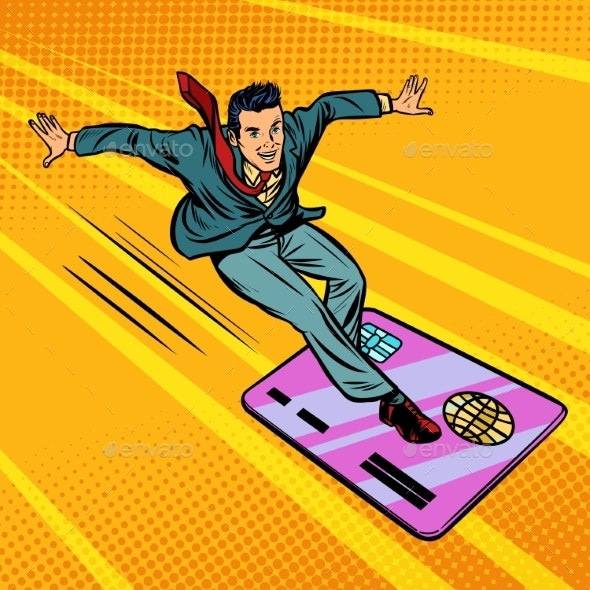 Businessman and Credit Card Snowboarding - Concepts Business