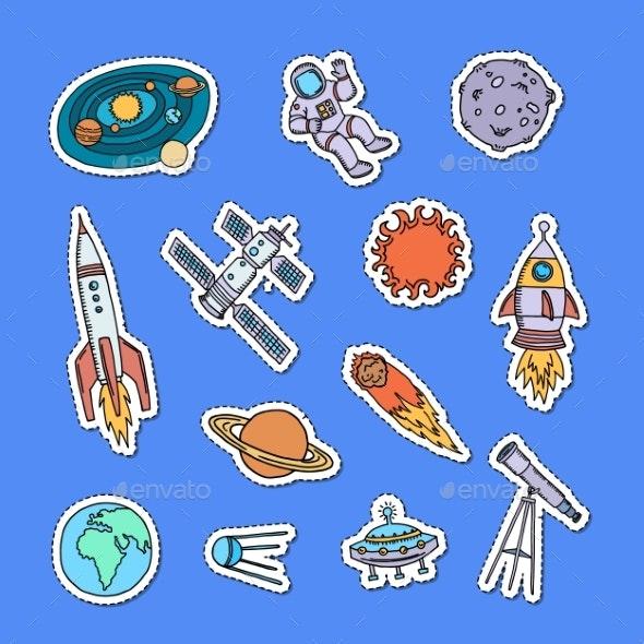 Vector Hand Drawn Space Elements Stickers Set - Miscellaneous Vectors