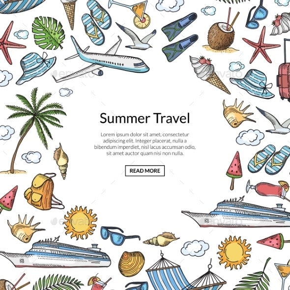 Vector Hand Drawn Summer Travel Elements - Travel Conceptual
