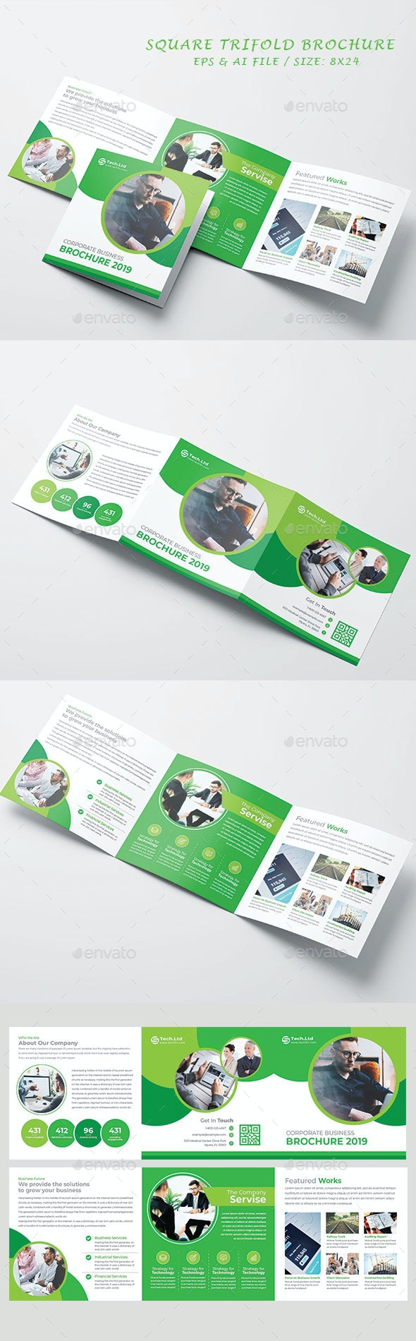 Square Trifold Brochure - Brochures Print Templates