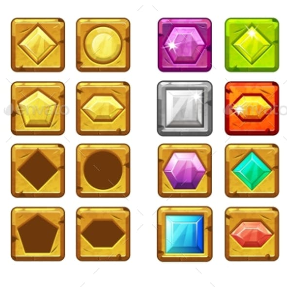 Cartoon Different Shaped Gems