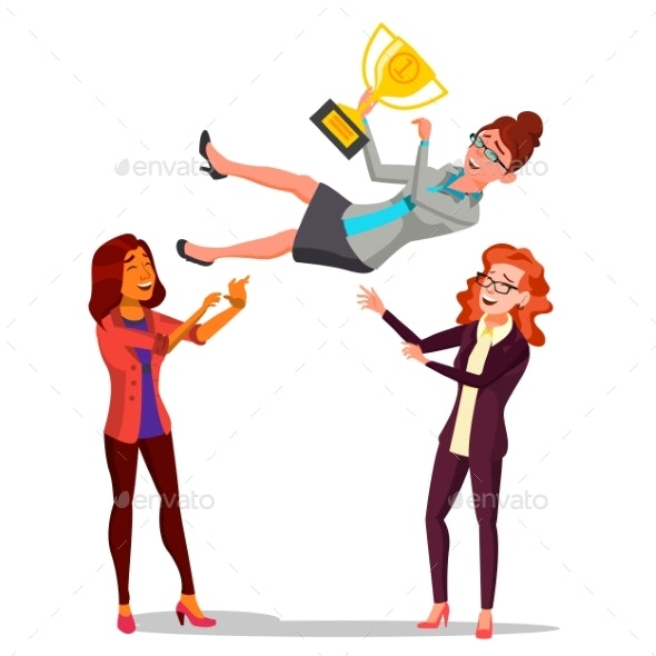 Winner Business Woman Vector. Throwing Colleague - Business Conceptual