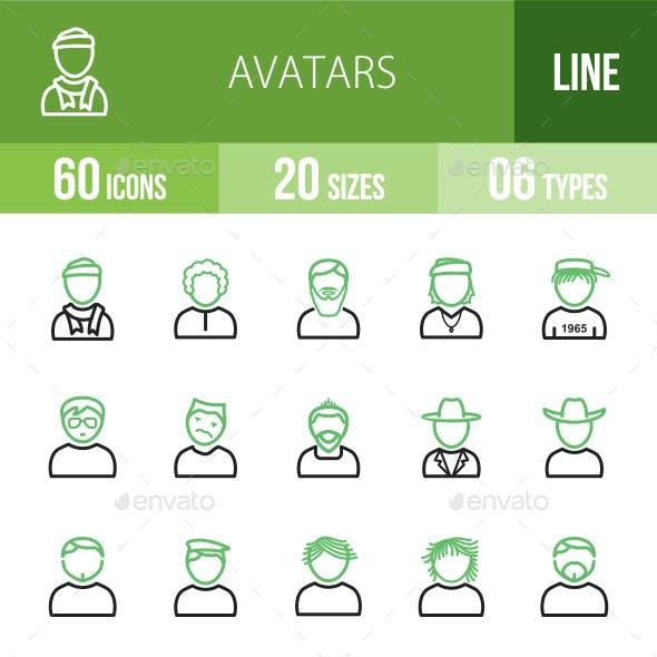 Avatars Line Green & Black Icons