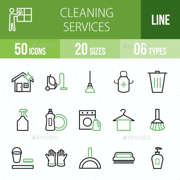 Cleaning Services Line Green & Black Icons
