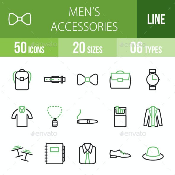 Men's Accessories Line Green & Black Icons