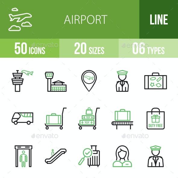 Airport Line Green & Black Icons
