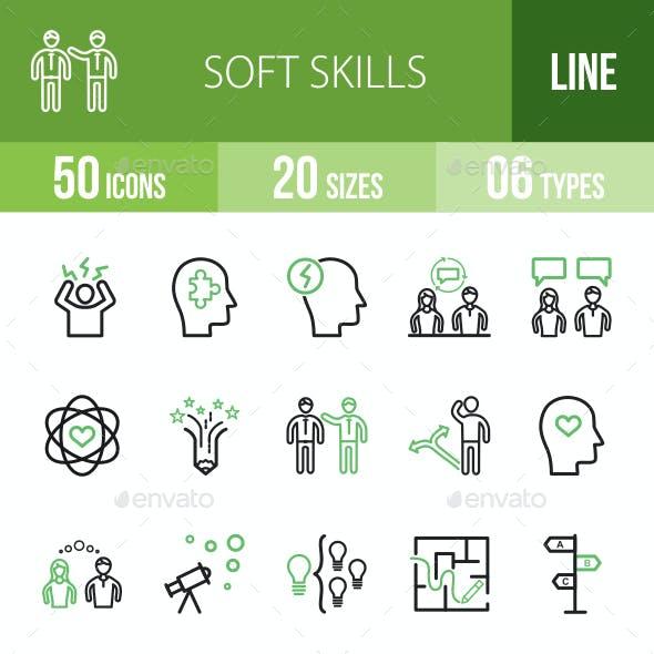 Soft Skills Line Green & Black Icons