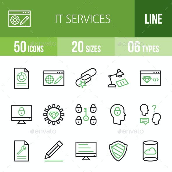 IT Services Line Green & Black Icons