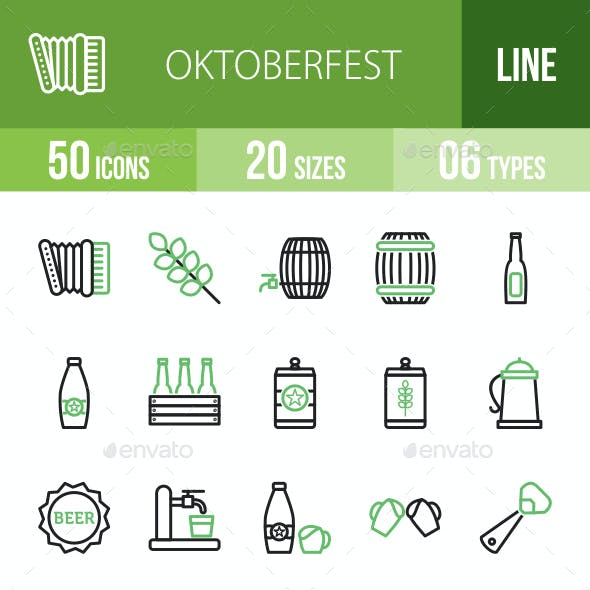 Oktoberfest Line Green & Black Icons