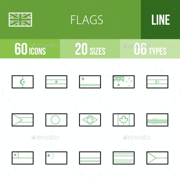 Flags Line Green & Black Icons