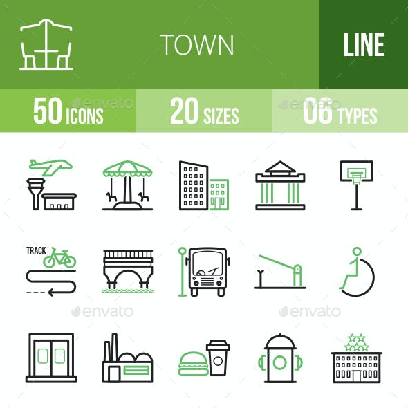Town Line Green & Black Icons
