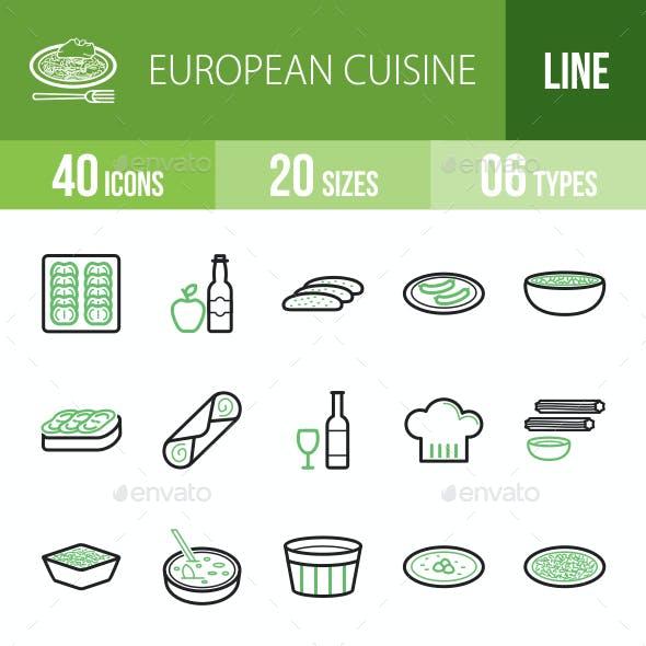 European Cuisine Line Green & Black Icons
