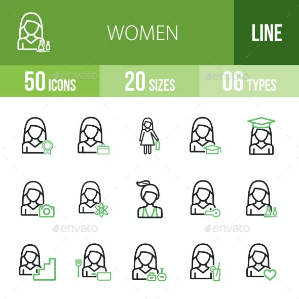Women Line Green & Black Icons