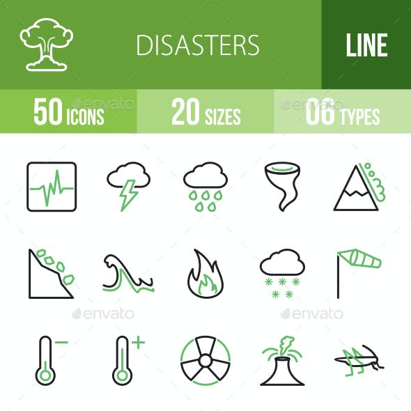 Disasters Line Green & Black Icons