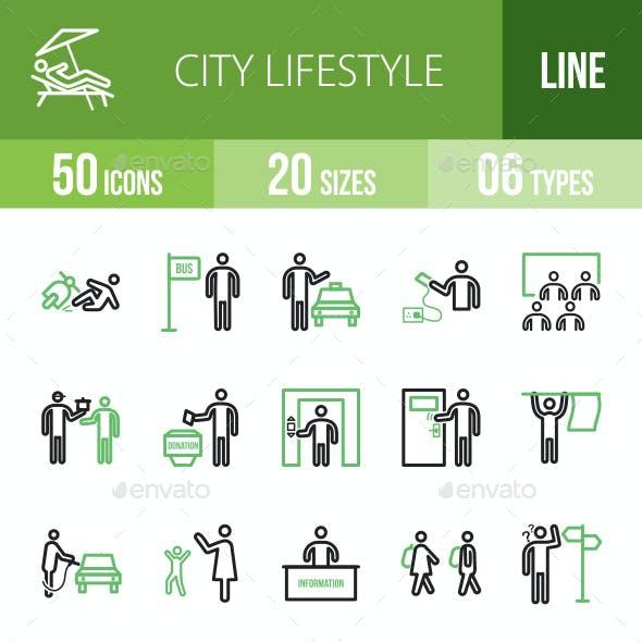 City Lifestyle Line Green & Black Icons