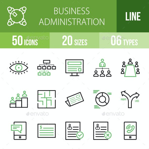 Business Administration Line Green & Black Icons