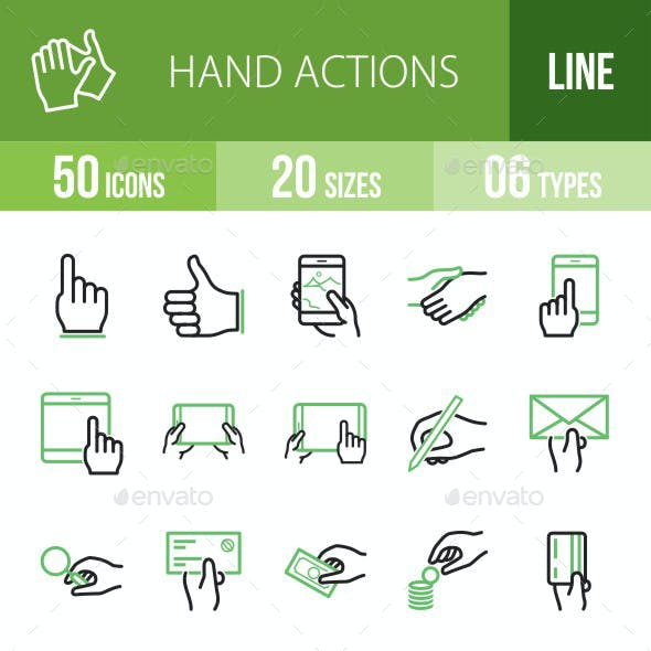 Hand Actions Line Green & Black Icons