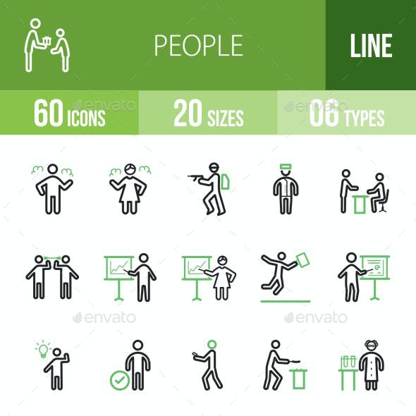 People Line Green & Black Icons