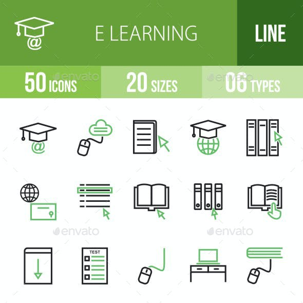 E Learning Line Green & Black Icons
