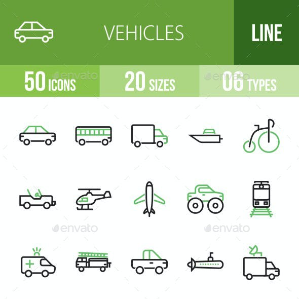 Vehicles Line Green & Black Icons