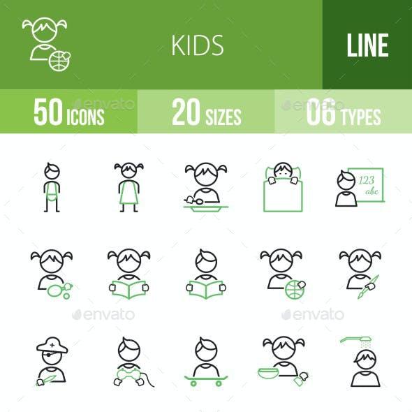 Kids Line Green & Black Icons