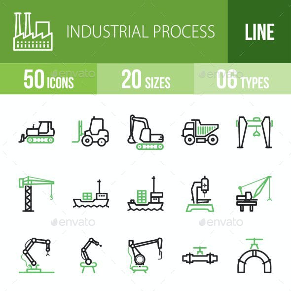 Industrial Process Line Green & Black Icons