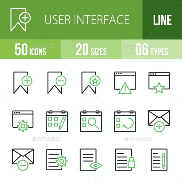 User Interface Line Green & Black Icons