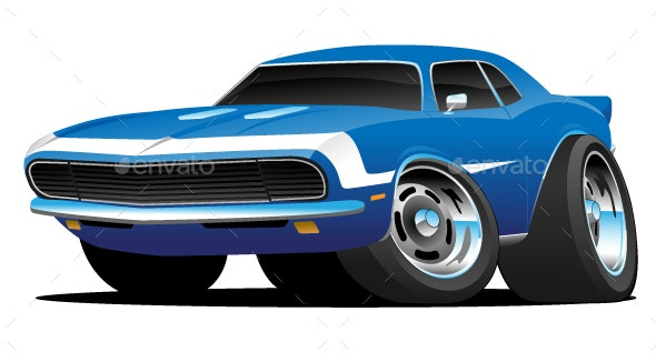 Classic Sixties Style American Muscle Car Cartoon - Miscellaneous Vectors