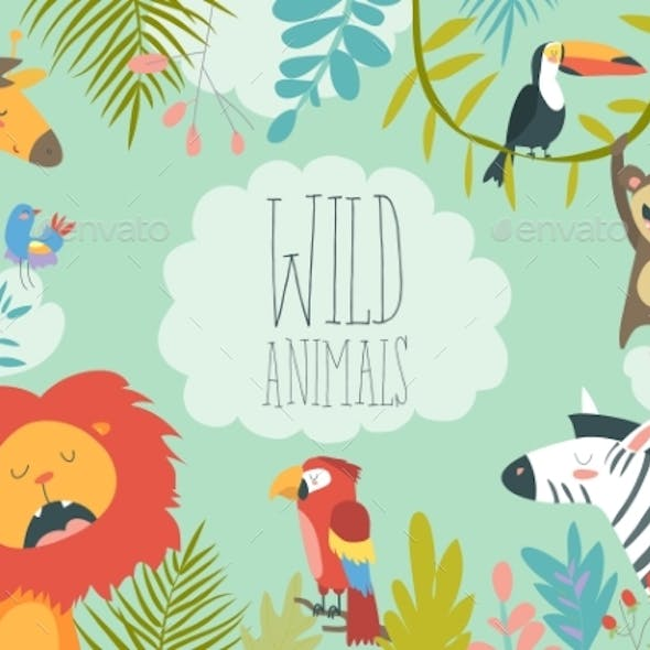Jungle Animals Creating a Framed Background