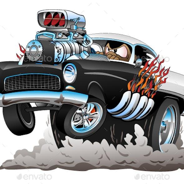 Old Car Cartoon Vector Illustration