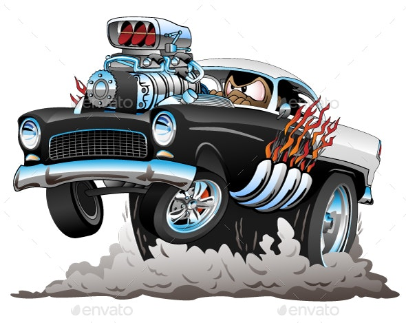 Old Car Cartoon Vector Illustration - Miscellaneous Vectors