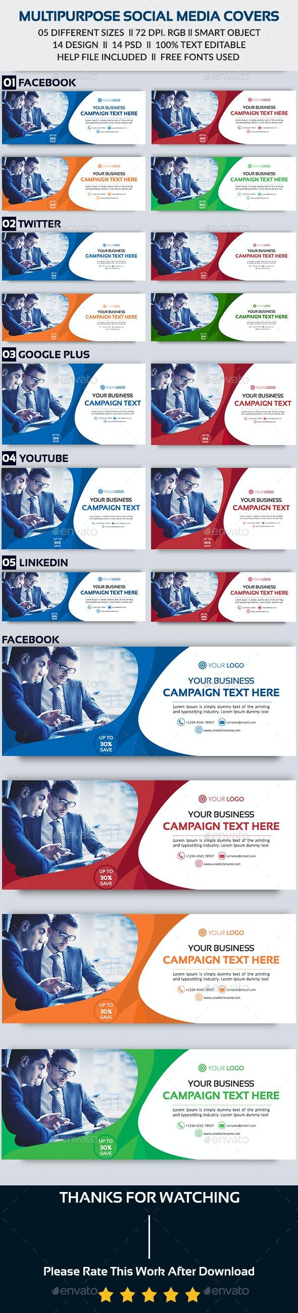 Multipurpose Social Media Cover - Bundle -14 Design - Social Media Web Elements