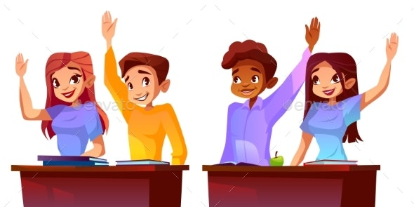 College Students Raise Hands Vector Illustration - People Characters