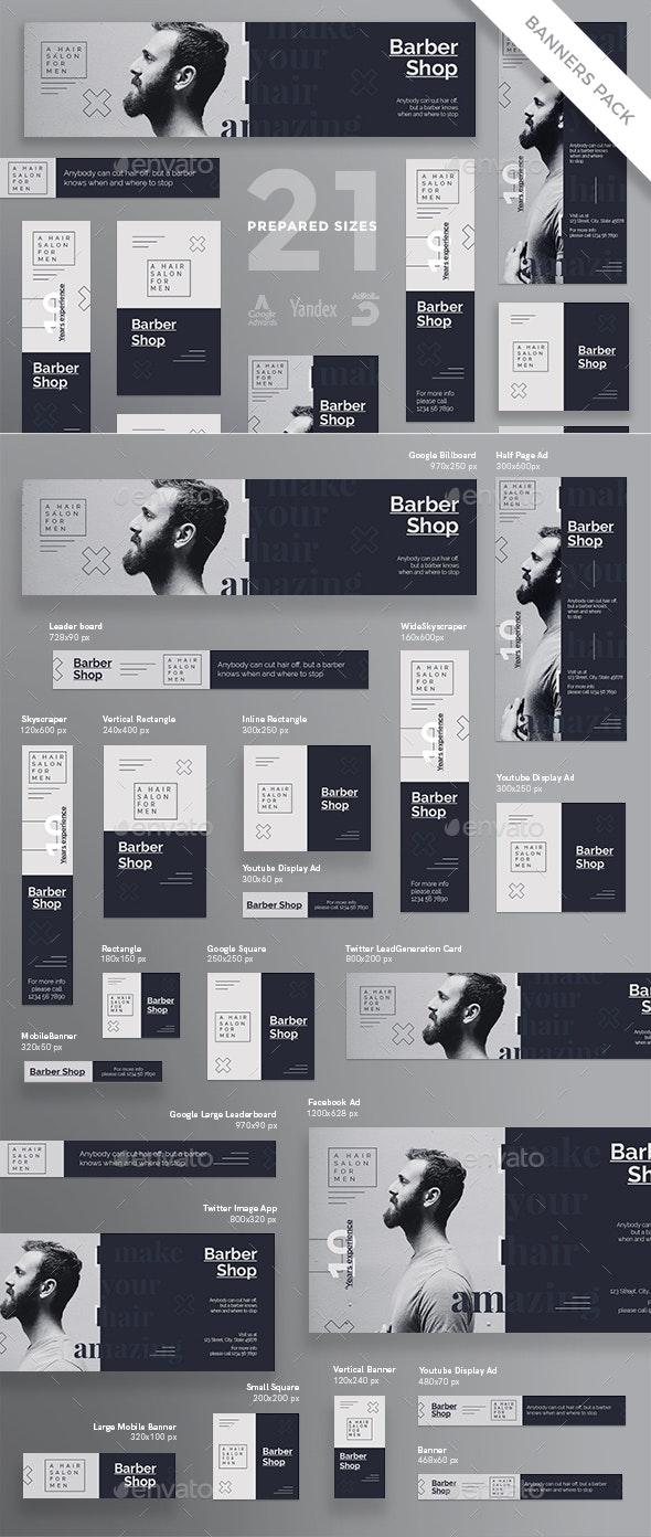 Barber Shop Banner Pack - Banners & Ads Web Elements