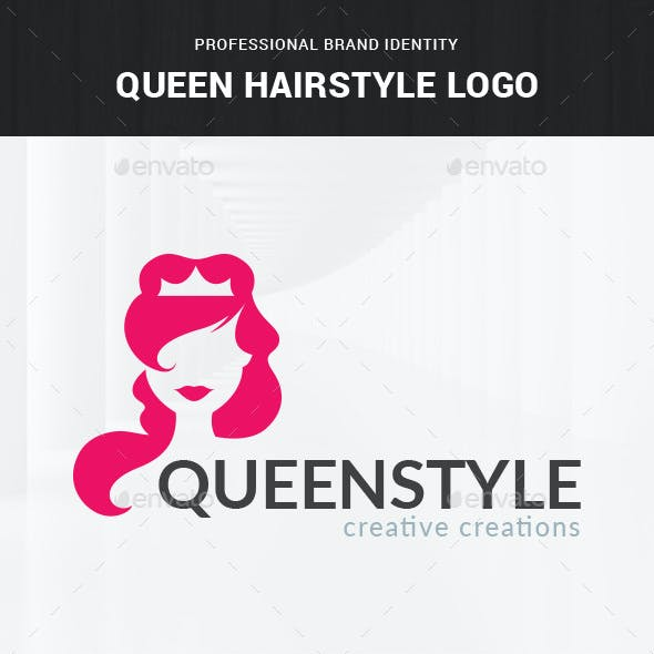 Queen Hairstyle Logo Template