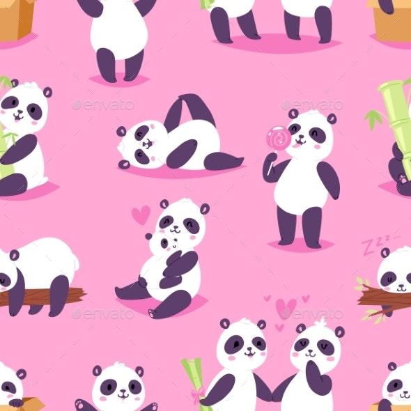 Panda Vector Bearcat or Chinese Bear with Bamboo - Animals Characters