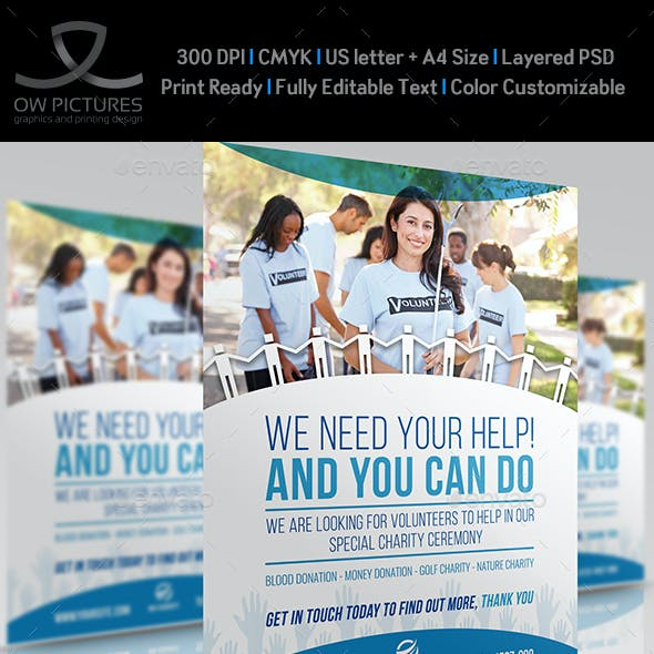 Volunteer Charity Flyer Template Vol.2