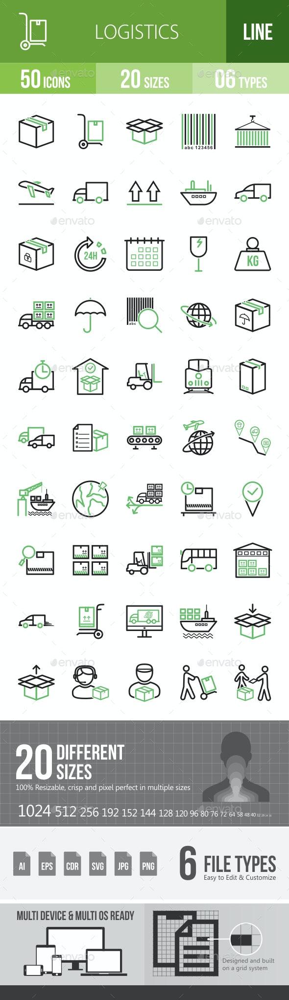 Logistics Line Green & Black Icons - Icons