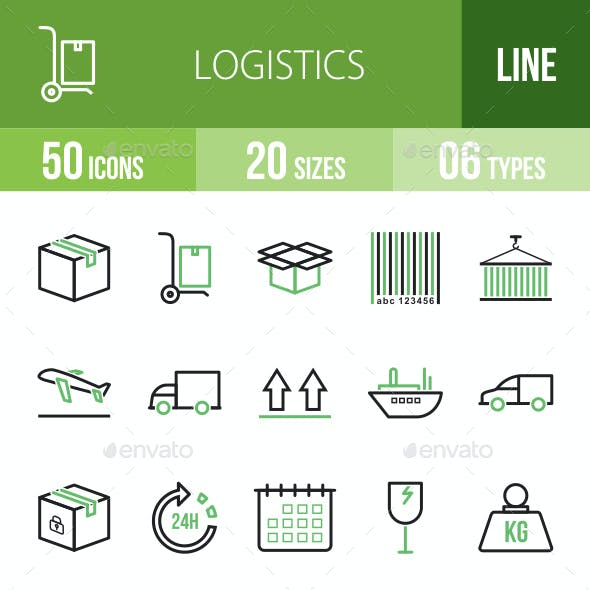 Logistics Line Green & Black Icons