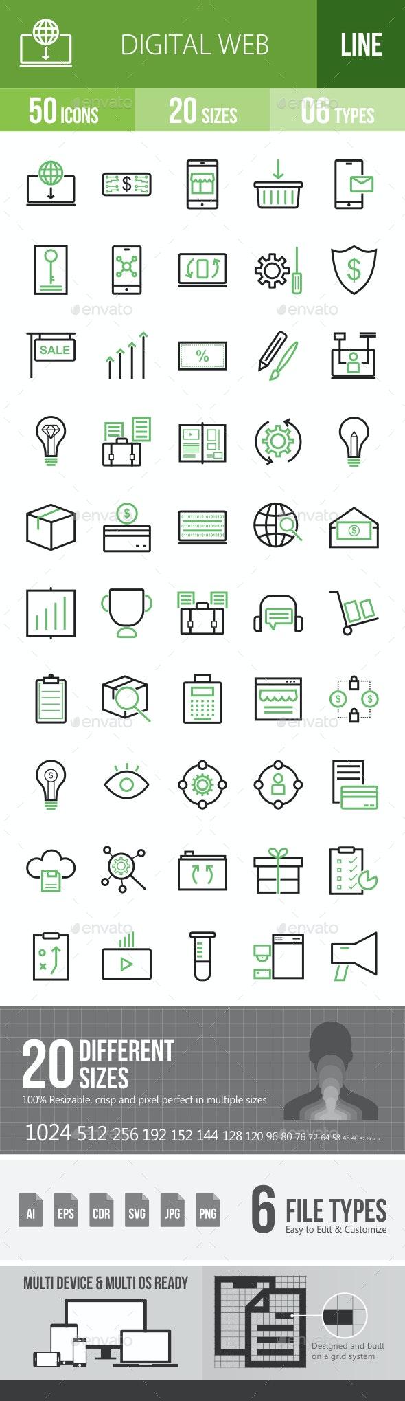 Digital Web Line Green & Black Icons - Icons