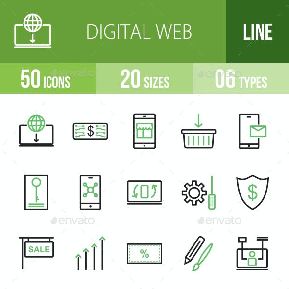 Digital Web Line Green & Black Icons