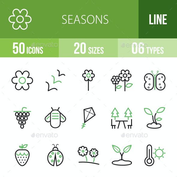 Seasons Line Green & Black Icons